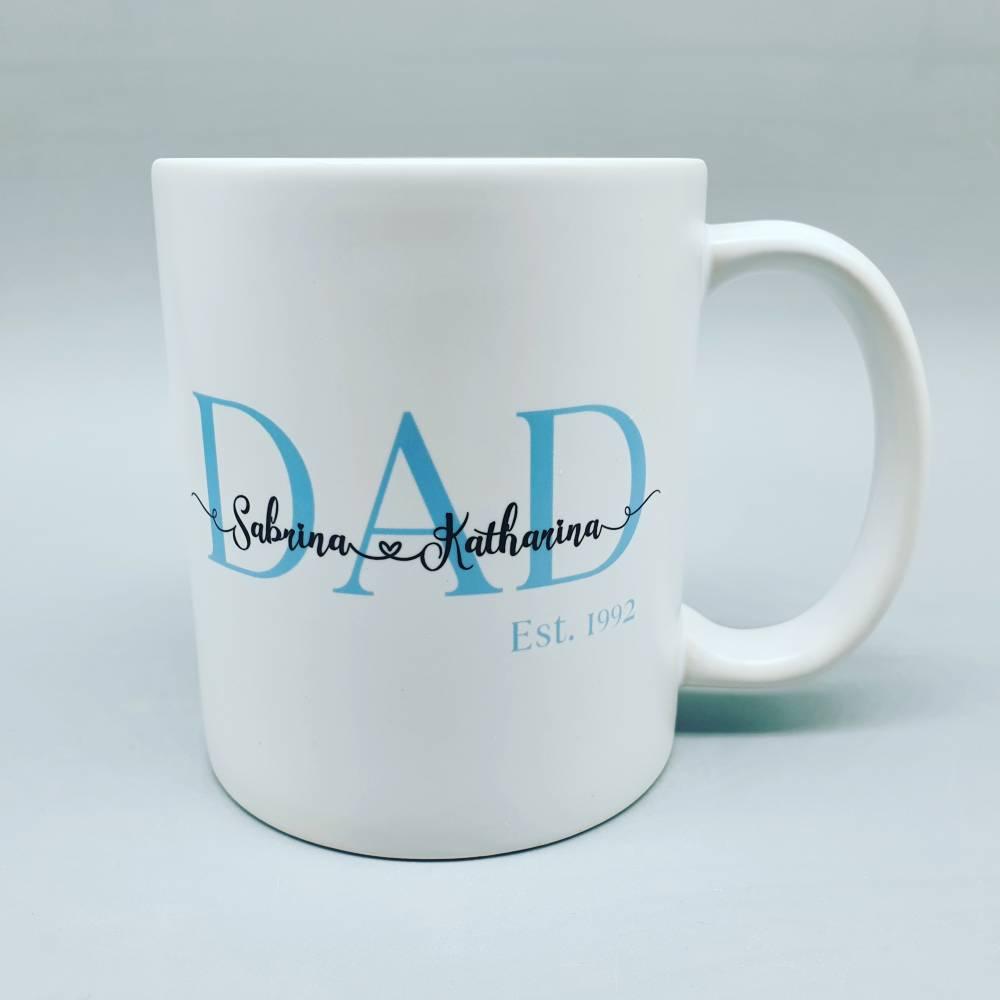 Persoanlisierte Tasse DAD est. (Papa seit) - weiß  -  mit Namen der Kinder - Kindernamen Bild 1