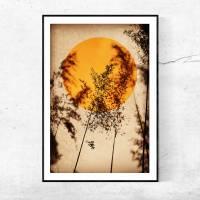 Illustration Sonne in Rostorange, Vögel, Vogelschwarm, Stare auf erdigem Beige, Trendfarbe, moderner Kunstdruck Bild 3