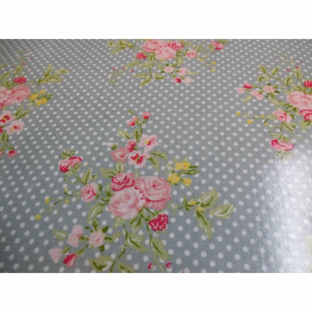 A.U Maison Wachstuch Oilcloth Flora dusty blue Oeko-Tex Standard 100 ( 1m/20,-€) Bild 1