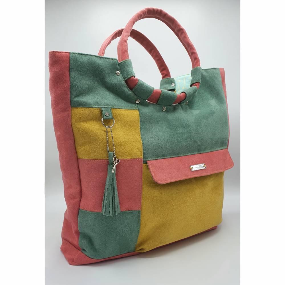Shopper Tasche aus weichem Velours Kunstleder mit runden, weichen Griffen  Bild 1