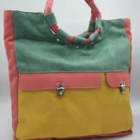 Shopper Tasche aus weichem Velours Kunstleder mit runden, weichen Griffen  Bild 2