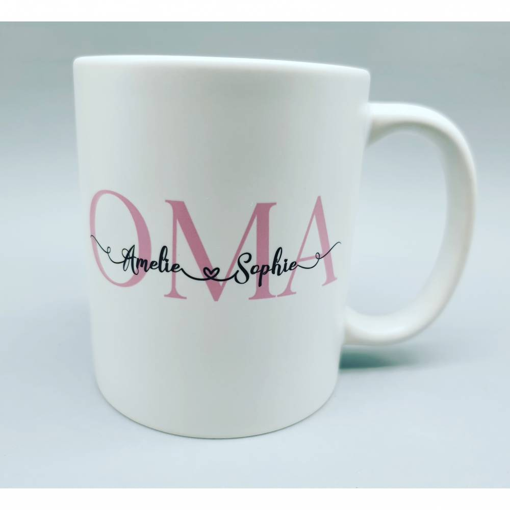 """Personalisierte Tasse """"OMA"""" mit Namen der Enkel Bild 1"""