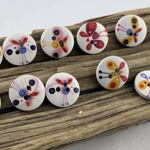 10 Holzknöpfe * kleine bunte Schmetterlinge * Schmetterling * Butterfly * Holz * 15mm * Scrapbooking * Motivknöpfe * Kin Bild 2
