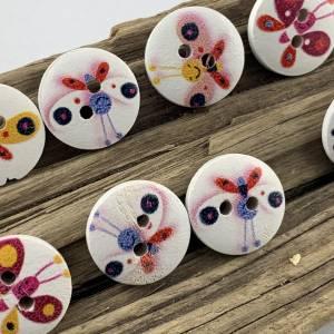 10 Holzknöpfe * kleine bunte Schmetterlinge * Schmetterling * Butterfly * Holz * 15mm * Scrapbooking * Motivknöpfe * Kin Bild 3