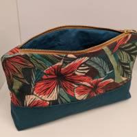 Kosmetiktasche / Kulturtasche / Kulturbeutel / Schminktasche im floralen Design Bild 1