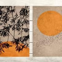 2er Set Poster Wohnzimmer, Sonne, Blätter, Vögel, Trendfarbe erdiges Beige und Rostorange, moderne Dekoration Bild 1