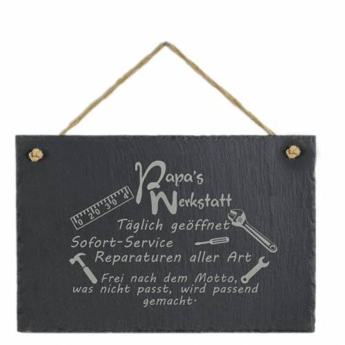 Spruchtafel Papas Werkelstube... Werkstatt auf Schiefer graviert zum Aufhängen Geschenkidee Geburtstag Vatertag