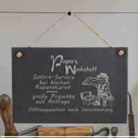 Spruchtafel Papas Werkstatt auf Schiefer graviert zum Aufhängen Geschenkidee Geburtstag Vatertag Bild 2