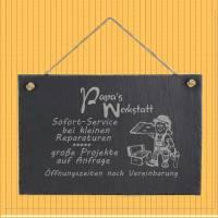 Spruchtafel Papas Werkstatt auf Schiefer graviert zum Aufhängen Geschenkidee Geburtstag Vatertag Bild 3