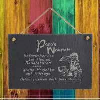 Spruchtafel Papas Werkstatt auf Schiefer graviert zum Aufhängen Geschenkidee Geburtstag Vatertag Bild 4