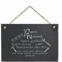 Spruchtafel Papas Werkstatt auf Schiefer graviert zum Aufhängen Geschenkidee Geburtstag Vatertag Bild 5