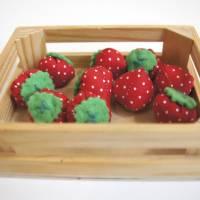 Stoff Erdbeeren - Kaufladen, Kinderküche Bild 6