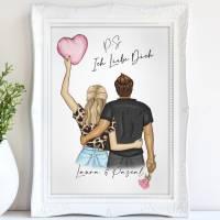 P.S.: ICH LIEBE DICH - A4 / A3 - Valentinstag, Kunstdruck Bild 1