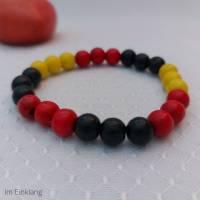 rotes, gelbes, schwarzes Armband, Holzperlen Bild 1