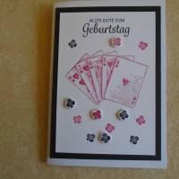 Glückwunschkarte Geburtstagskarte Kartenspielen Frau Mann Pik Kreuz Karo Herz Kartenspieler Spielkarten Bild 1