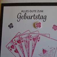 Glückwunschkarte Geburtstagskarte Kartenspielen Frau Mann Pik Kreuz Karo Herz Kartenspieler Spielkarten Bild 2