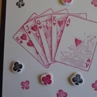 Glückwunschkarte Geburtstagskarte Kartenspielen Frau Mann Pik Kreuz Karo Herz Kartenspieler Spielkarten Bild 3