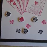 Glückwunschkarte Geburtstagskarte Kartenspielen Frau Mann Pik Kreuz Karo Herz Kartenspieler Spielkarten Bild 4