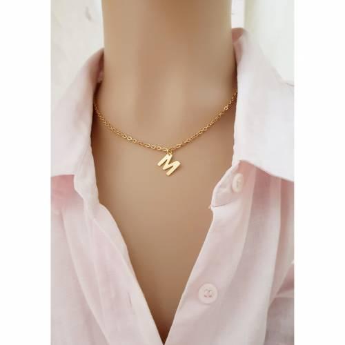 Halskette Initialen Buchstabe Edelstahl vergoldet Monogramm Anfangsbuchstabe gold Gliederkette Karabinerverschluss Namen