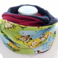 Damen Loop bunt Häschen Loopschal Schal zum Wenden Fleece Bild 1