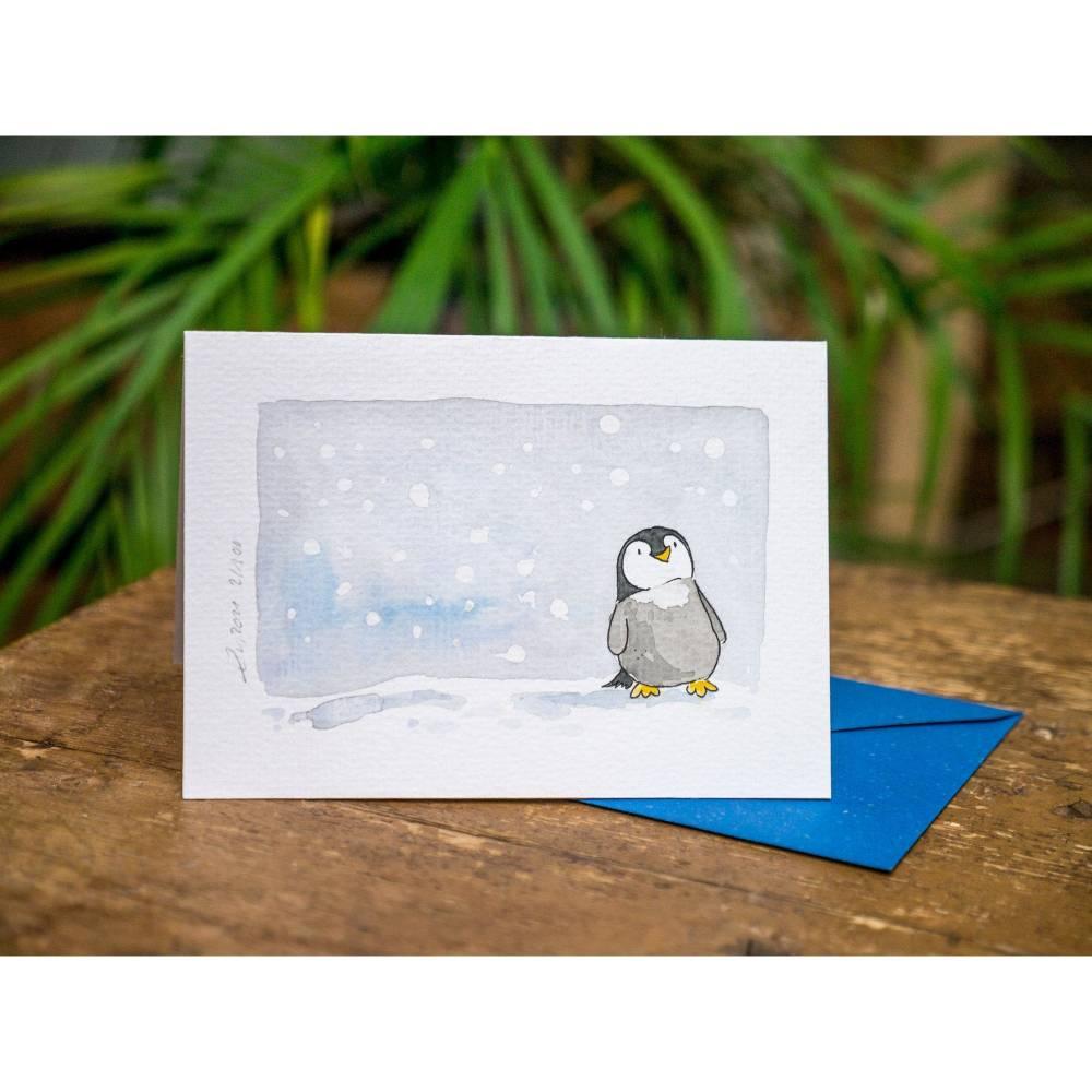 """Grußkarten """"kleine Pinguine"""", besonders niedliche Faltkarte für Kinder, Original Illustrationen Bild 1"""