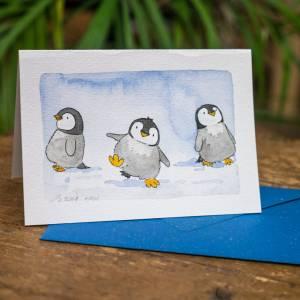 """Grußkarten """"kleine Pinguine"""", besonders niedliche Faltkarte für Kinder, Original Illustrationen Bild 2"""