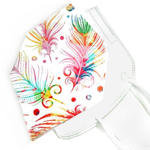 Überzug für FFP2 Masken *Bunte Federn* einlagig Baumwolle waschbar FFP2 Mask Cover Verschönern