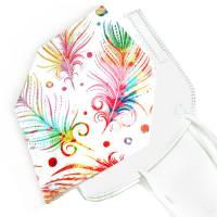 Überzug für FFP2 Masken *Bunte Federn* einlagig Baumwolle waschbar FFP2 undercover Mask Cover Verschönern Bild 1