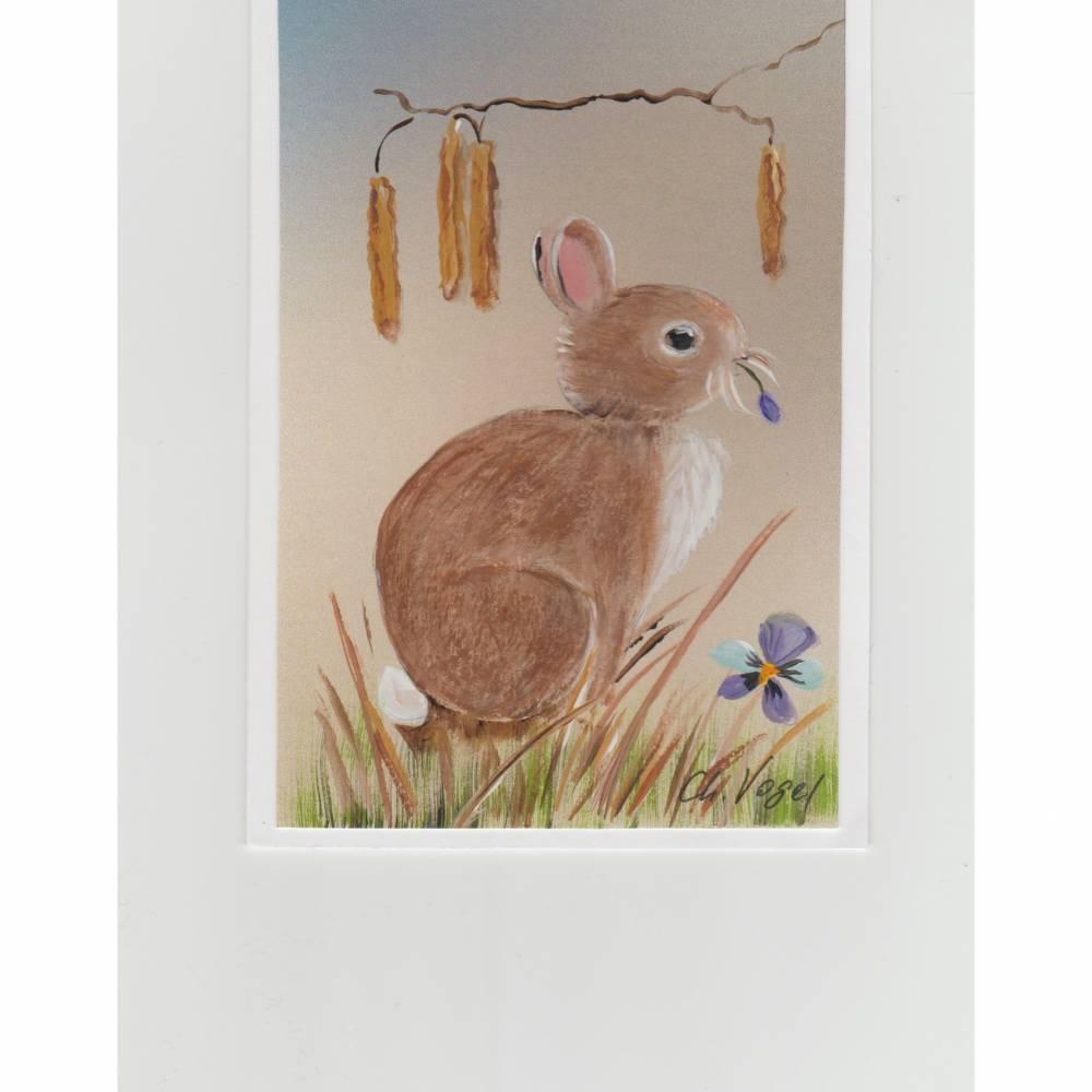Osterkarte/   Grußkarte-    Häschen,   handgemalt Bild 1
