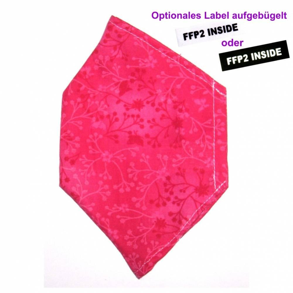 """Überzug für FFP2 Maske """"Ranken Pink"""" - einlagig - 100% Baumwolle - Waschbar - Stoffhülle - Stoffüberzug Bild 1"""