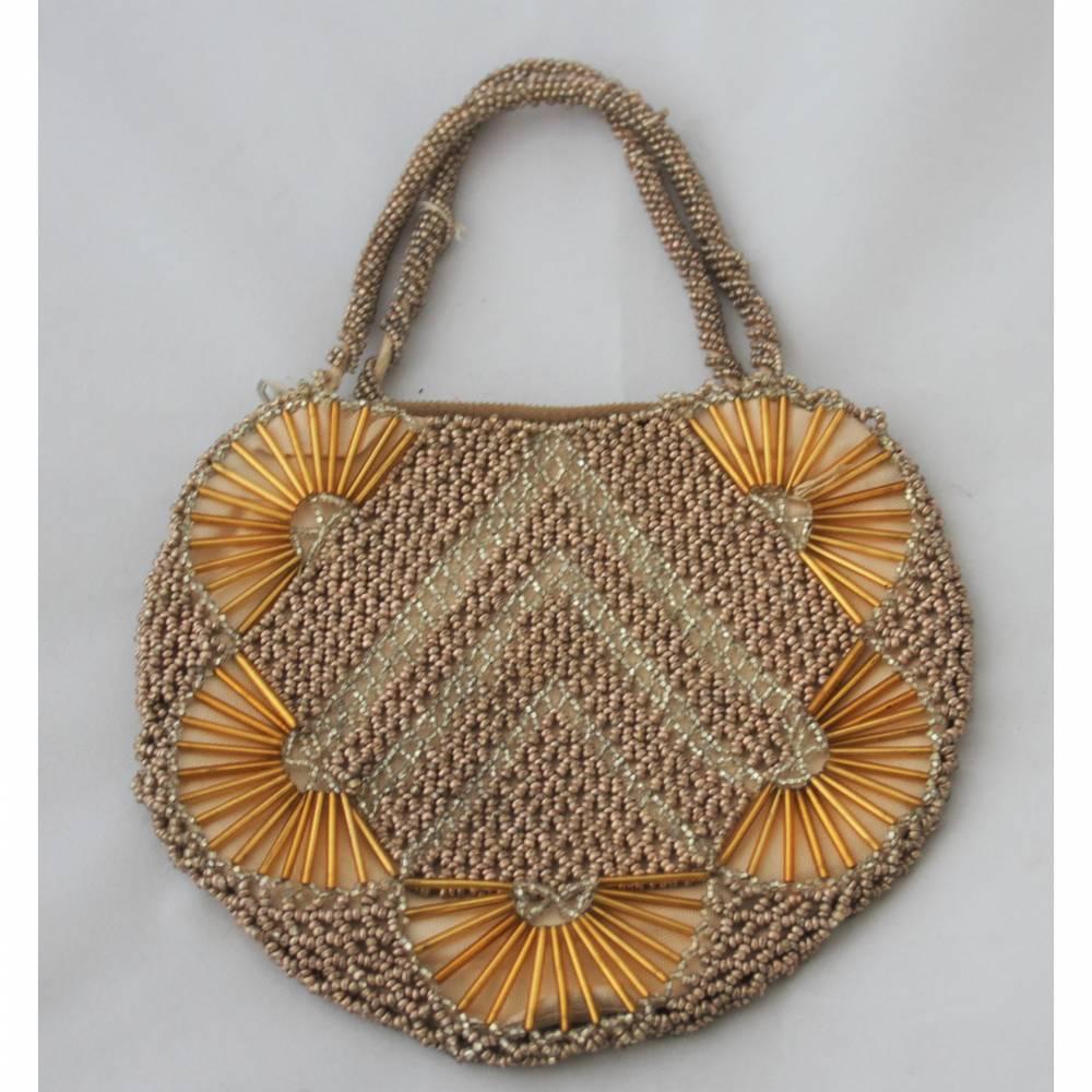 kleine Vintage Tasche mit Glasperlen Bild 1