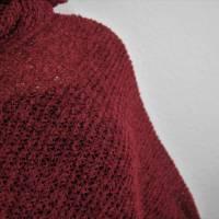leichter Strickponcho, Wollponcho, Poncho gestrickt dunkelrot keine Wolle Bild 6