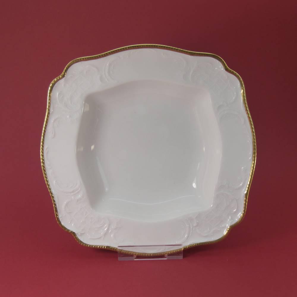 """Vintage 50er - Servierschüssel quadratisch ( 22x22 ) """"Rosenthal - Sanssouci weiss mit Goldpolierrand"""" Bild 1"""