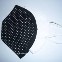 FFP2-Masken Überzug, klassisch, einlagig-Pünktchen schwarz, Baumwolle, waschbar bis 60° Bild 1