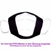 """Überzug für FFP2 Maske """"Schwarz"""" - einlagig - 100% Baumwolle - Waschbar - Stoffhülle - Stoffüberzug Bild 4"""