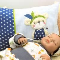 Kissen mit Namen Kinderkissen Namenskissen Babykissen Geburtskissen Bär personalisiert Geschenk Taufe Bild 2