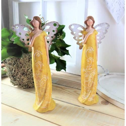 Frühlingselfe, Frühlingsdeko, Figur, gelb, stehend, elegant, Floristikdeko