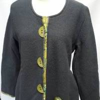 Wunderschöne Damen-Jacke aus grauem Wollwalk, mit einem weichen, lustig-gemusterten Baumwollfutter, Gr.M-L Bild 1