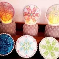 3 x Schneeflocken - 9x ITH Stickdateien-10x10 Rahmen-Teelichtstulpen, Untersetzer, Abschminkpads Bild 2