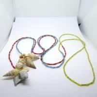 Lange bunte Halskette mit Miniperlen und echten Muscheln zum Knoten, maritimer Look für Naturliebhaberinnen Bild 10