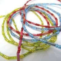 Lange bunte Halskette mit Miniperlen und echten Muscheln zum Knoten, maritimer Look für Naturliebhaberinnen Bild 6