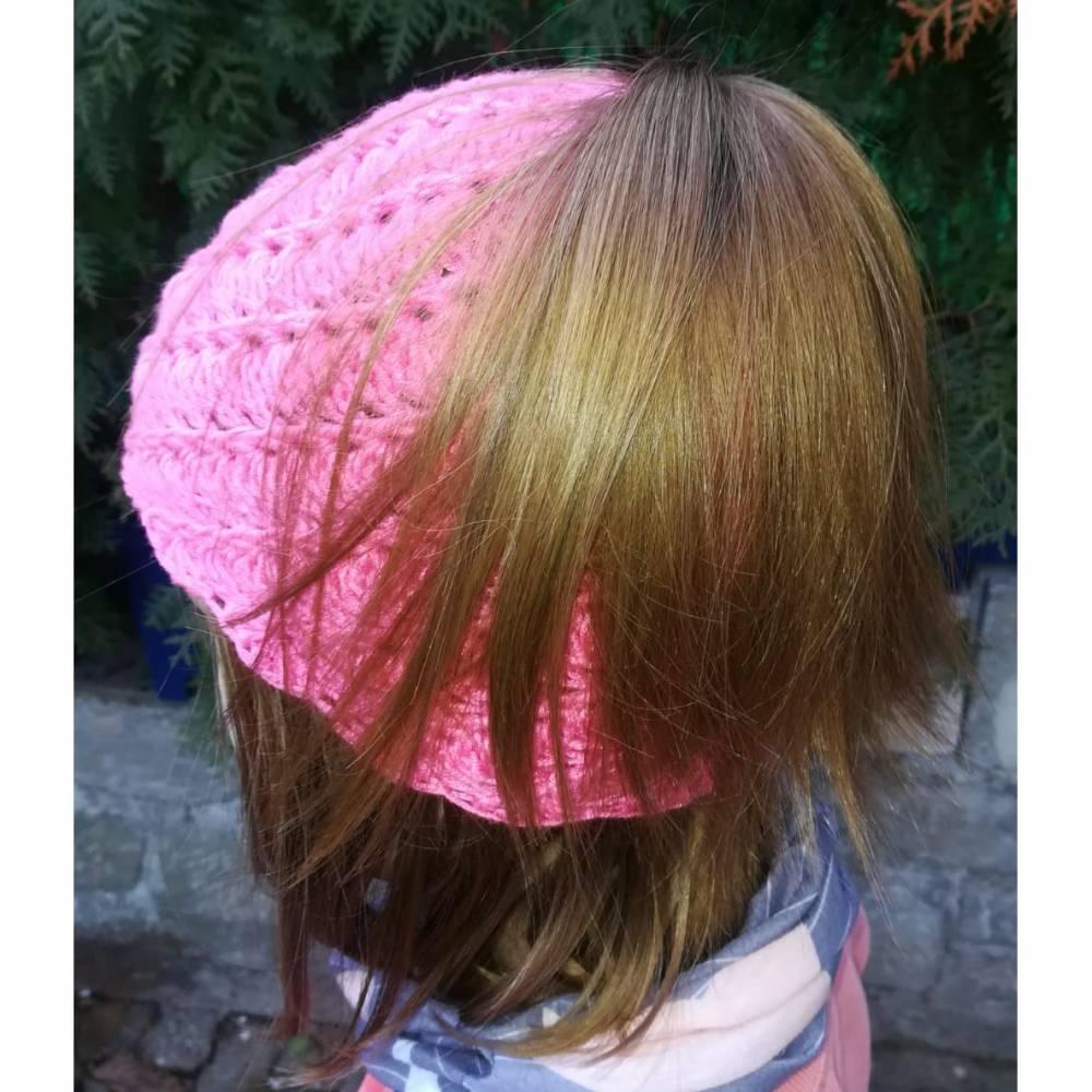 Mütze für Zopf oder Pferdeschwanz gehäkelt Handarbeit pink ca. 48-55 cm Bild 1