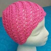 Mütze für Zopf oder Pferdeschwanz gehäkelt Handarbeit pink ca. 48-55 cm Bild 3
