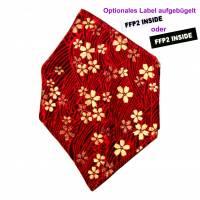 """Überzug für FFP2 Maske """"Goldblüten Rot"""" - einlagig - 100% Baumwolle - Waschbar - Stoffhülle - Stoffüberzug Bild 1"""