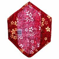 """Überzug für FFP2 Maske """"Goldblüten Rot"""" - einlagig - 100% Baumwolle - Waschbar - Stoffhülle - Stoffüberzug Bild 2"""