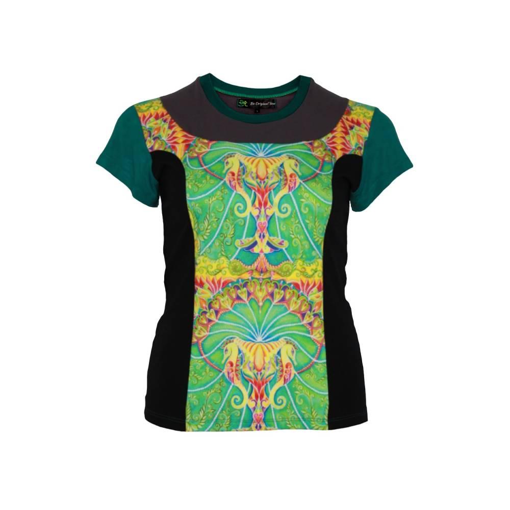 Farbenfrohes Designer T-Shirt _ Eco Fashion Art Print *Seepferdchen* petrol_100% Biobaumwolle _Organic Kurzarm sportlich Bild 1