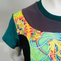 Farbenfrohes Designer T-Shirt _ Eco Fashion Art Print *Seepferdchen* petrol_100% Biobaumwolle _Organic Kurzarm sportlich Bild 2