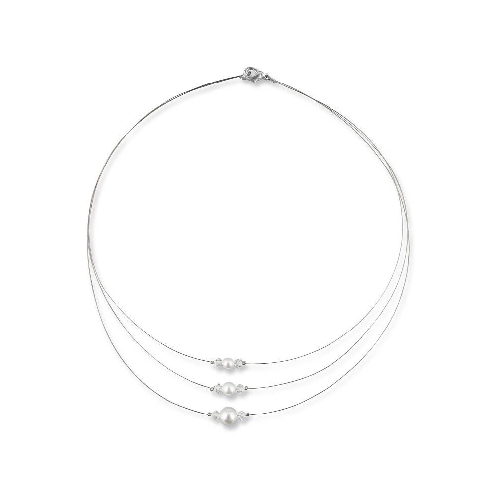 Braut Kette Perlen weiß creme, 925 Silber, Swarovski Strass, Geschenkbox, Perlenkette mehrreihig, Halskette mit Perlen Bild 1