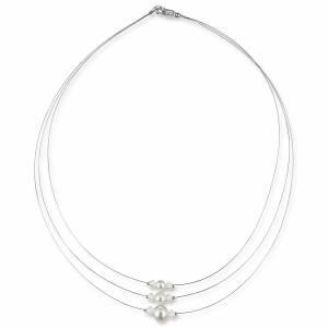 Braut Kette Perlen weiß creme, 925 Silber, Swarovski Strass, Geschenkbox, Perlenkette mehrreihig, Halskette mit Perlen Bild 2