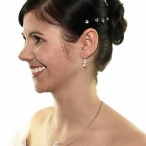 Braut Kette Perlen weiß creme, 925 Silber, Swarovski Strass, Geschenkbox, Perlenkette mehrreihig, Halskette mit Perlen Bild 3